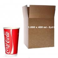 Coca Cola Becher Pappbecher 0,4l - 400ml Kaltgetränke 1000 Stk