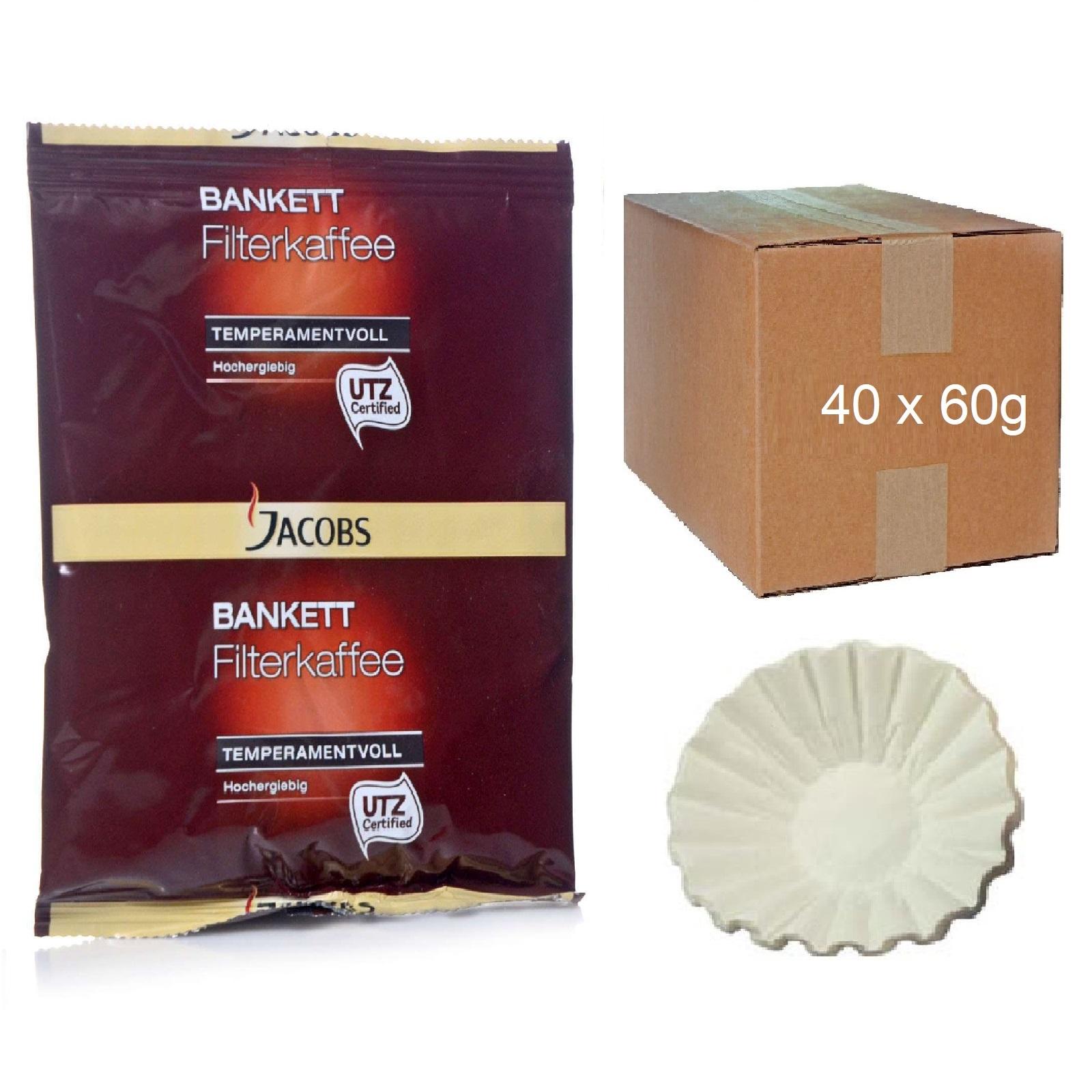 Jacobs Bankett Temperamentvoll 40 x 60g Kaffee Servicepaket inkl. 50 Korbfilter
