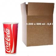 Coca Cola Becher Pappbecher 0,5l - 500ml Kaltgetränke 1000 Stk