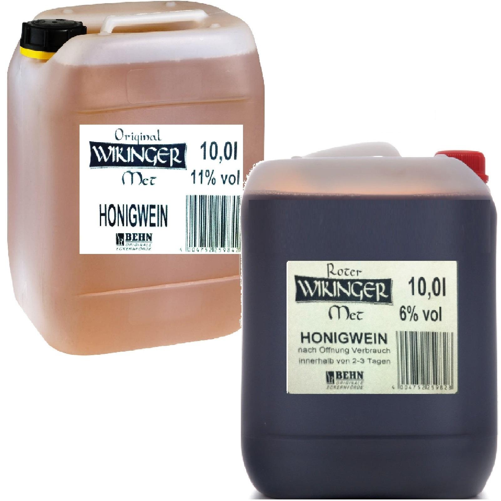 Original Wikinger Met Rot 2 x 10 Liter Kanister Honigwein Hell