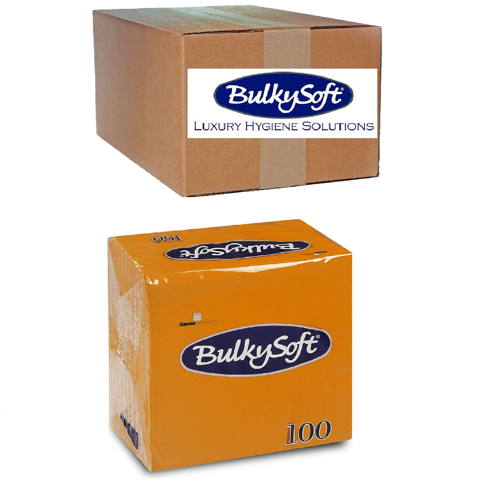 Bulky Soft Servietten 1/4 Falz, 2-lagig, 24 cm x 24 cm, orange 30 x 100 Stk.