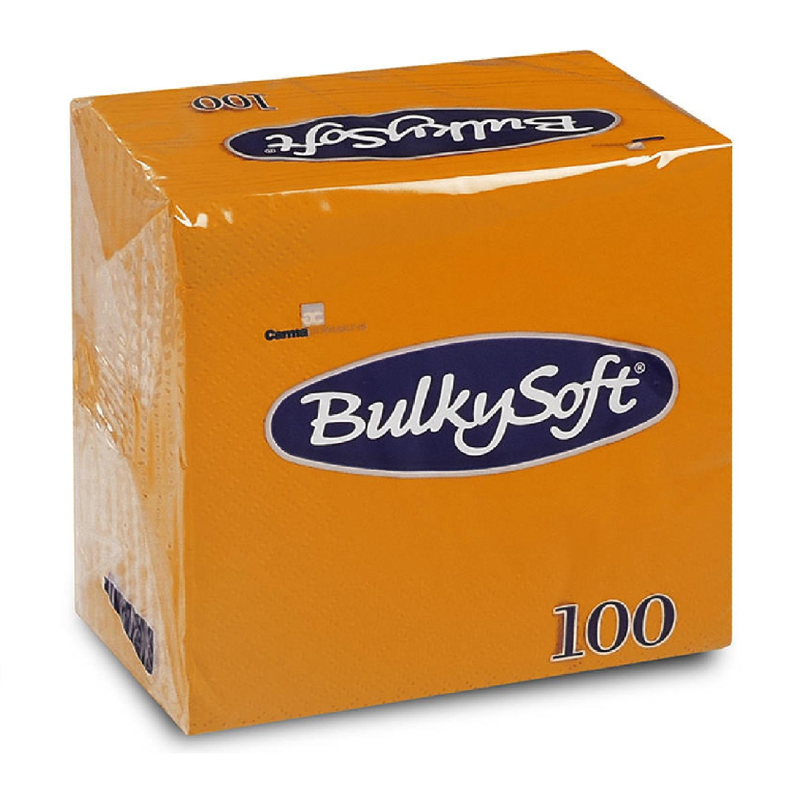 BulkySoft Servietten 1/4 Falz, orange 2-lg, Zell. 24 x 24 cm, 100 Stk.