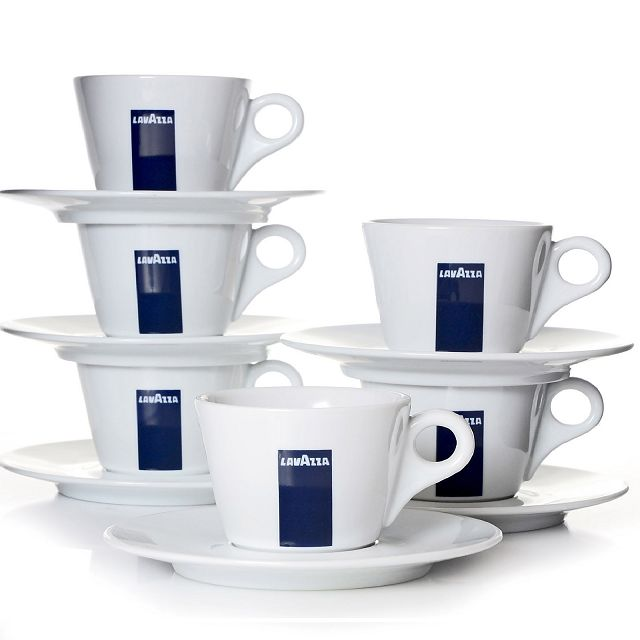 6 Lavazza Milchkaffeetassen mit Untertasse BLU Collection