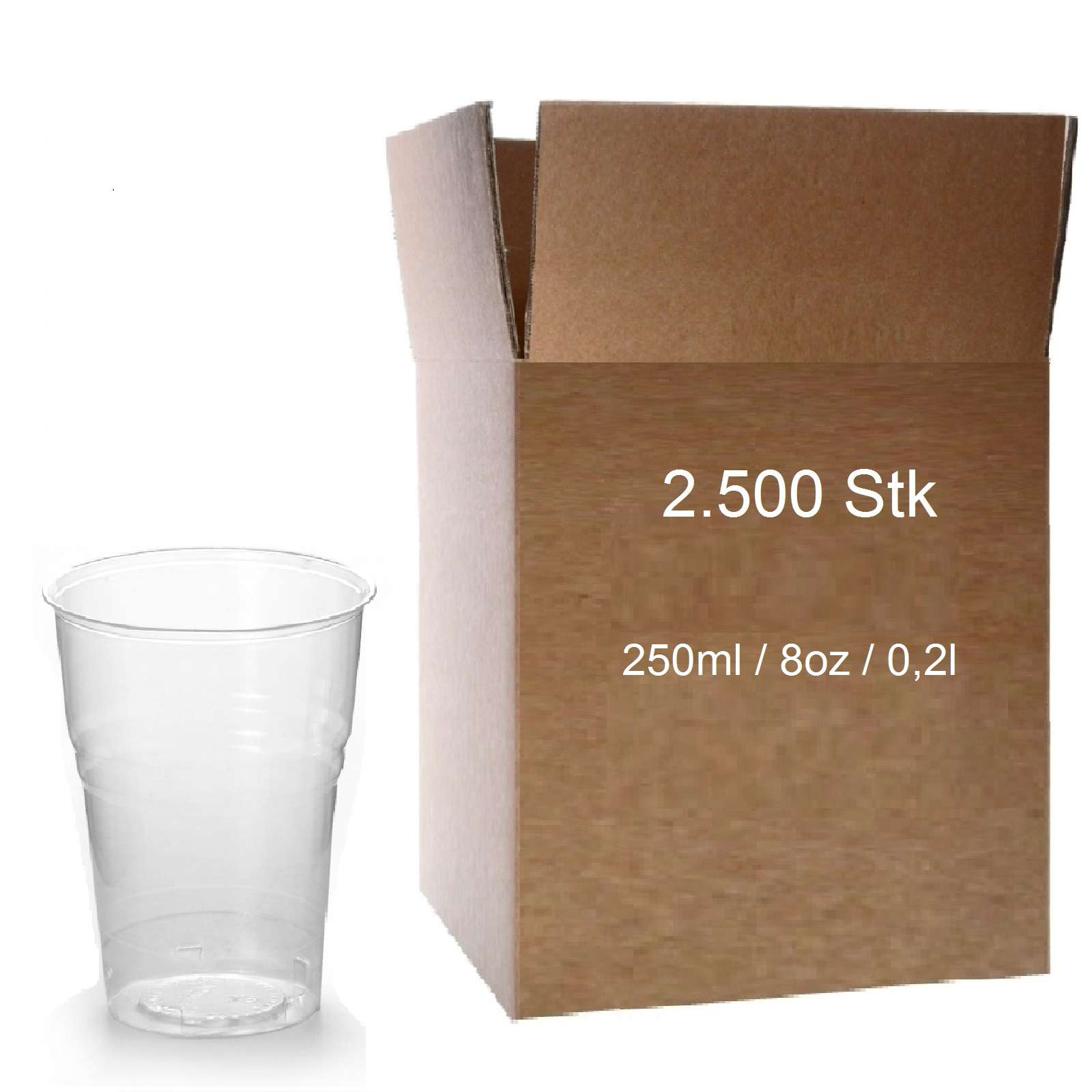 Trinkbecher 0,25 l Transparent 2.500 Plastikbecher 250 ml