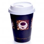 200 Coffee to go Pappbecher 33cl bean mit Deckel Weiss Ø80mm