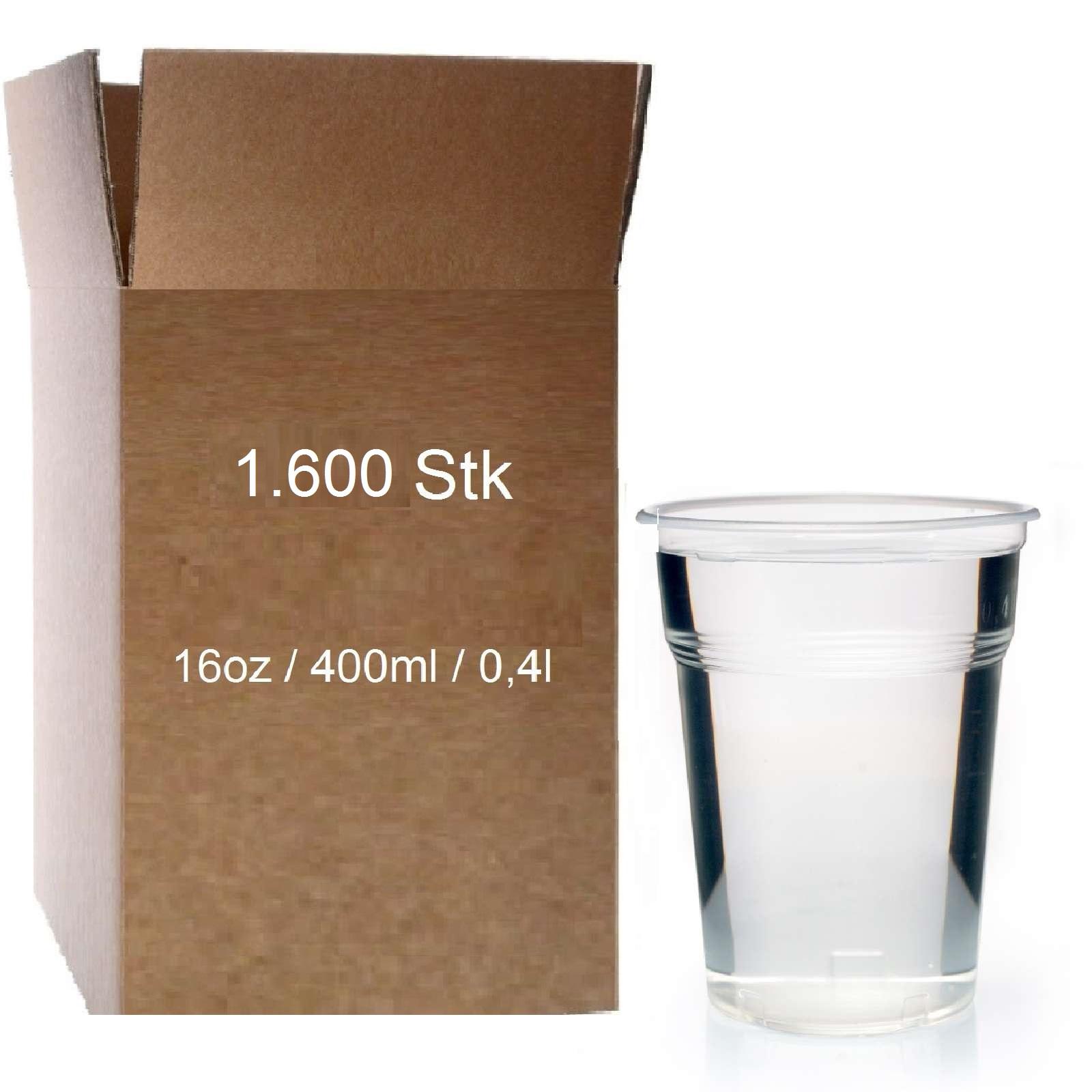 Bierbecher Ausschankbecher 400 ml Trinkbecher 1600 PP Becher