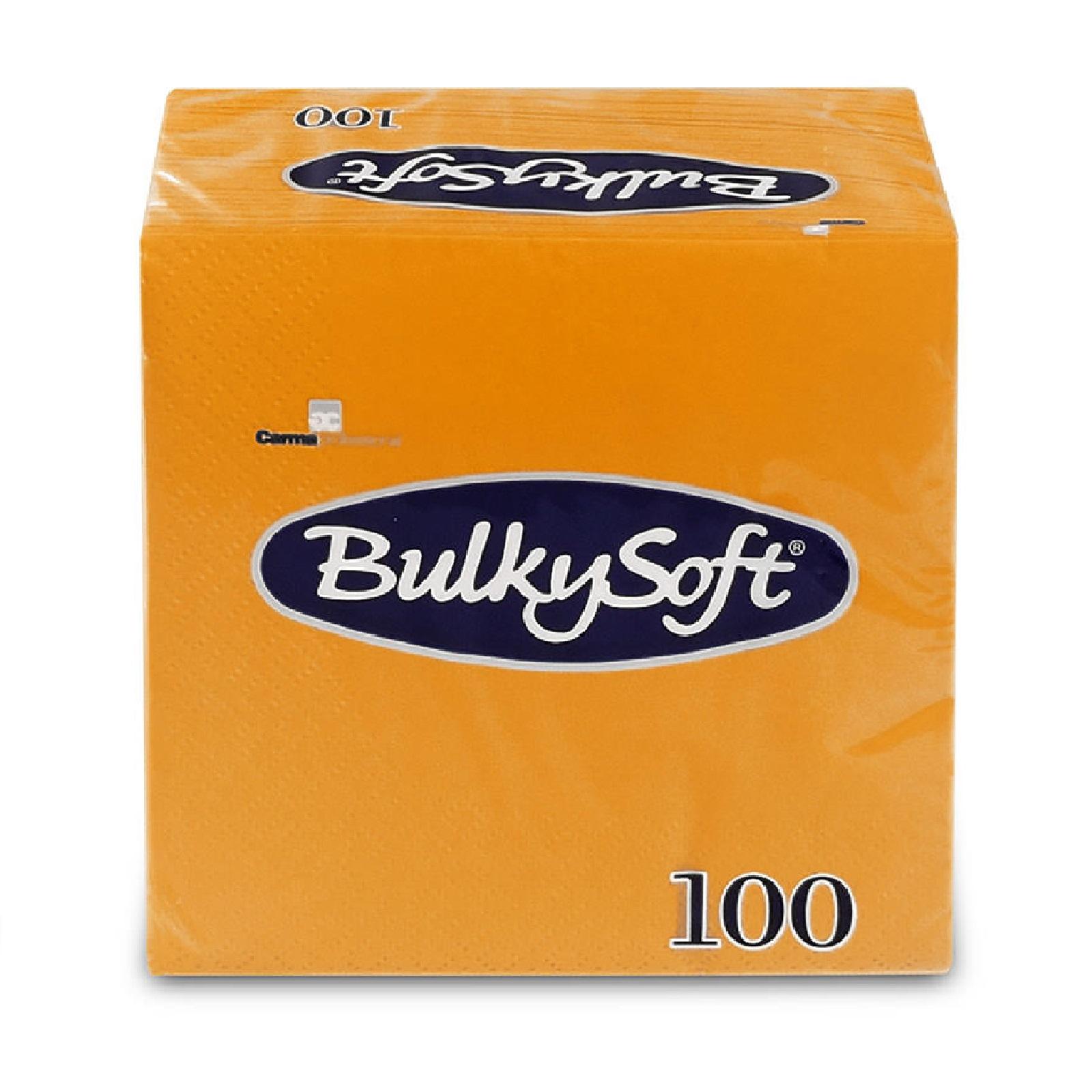 BulkySoft Servietten 1/4 Falz, orange 2-lg, Zell. 24 x 24 cm, 30 x 100 Stk.