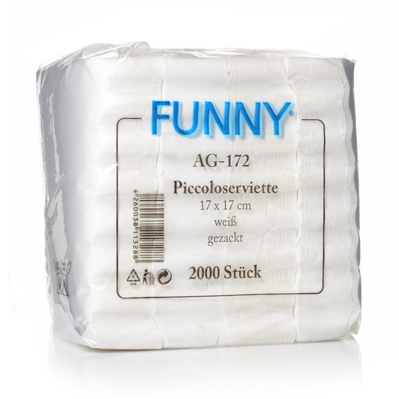 Funny Piccoloservietten 17 x 17 cm, weiß 10 x 2000 gezackt