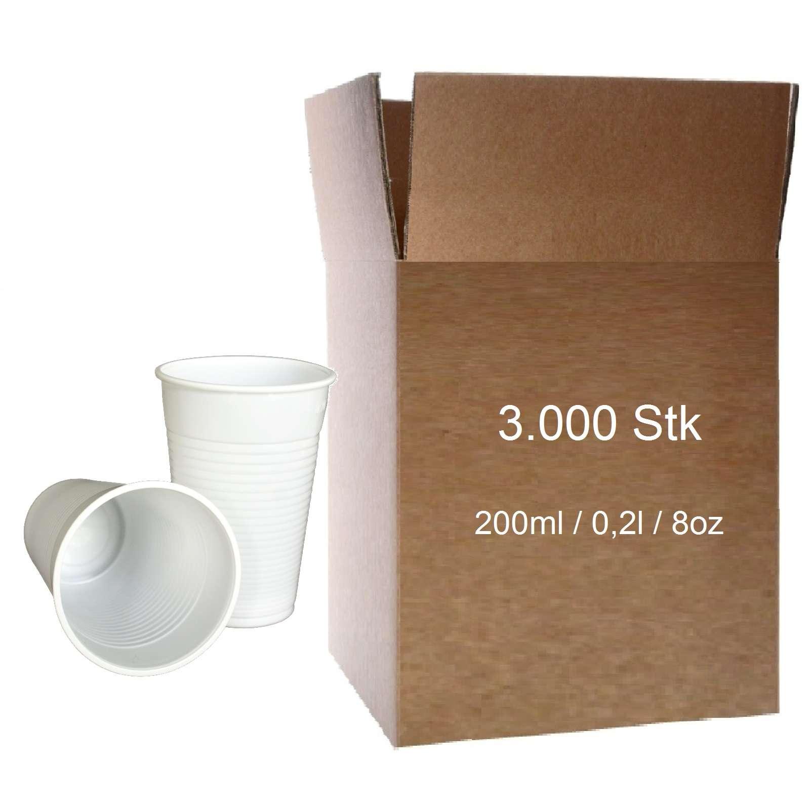 Trinkbecher weiss 0,2l Plastikbecher 100 Stk