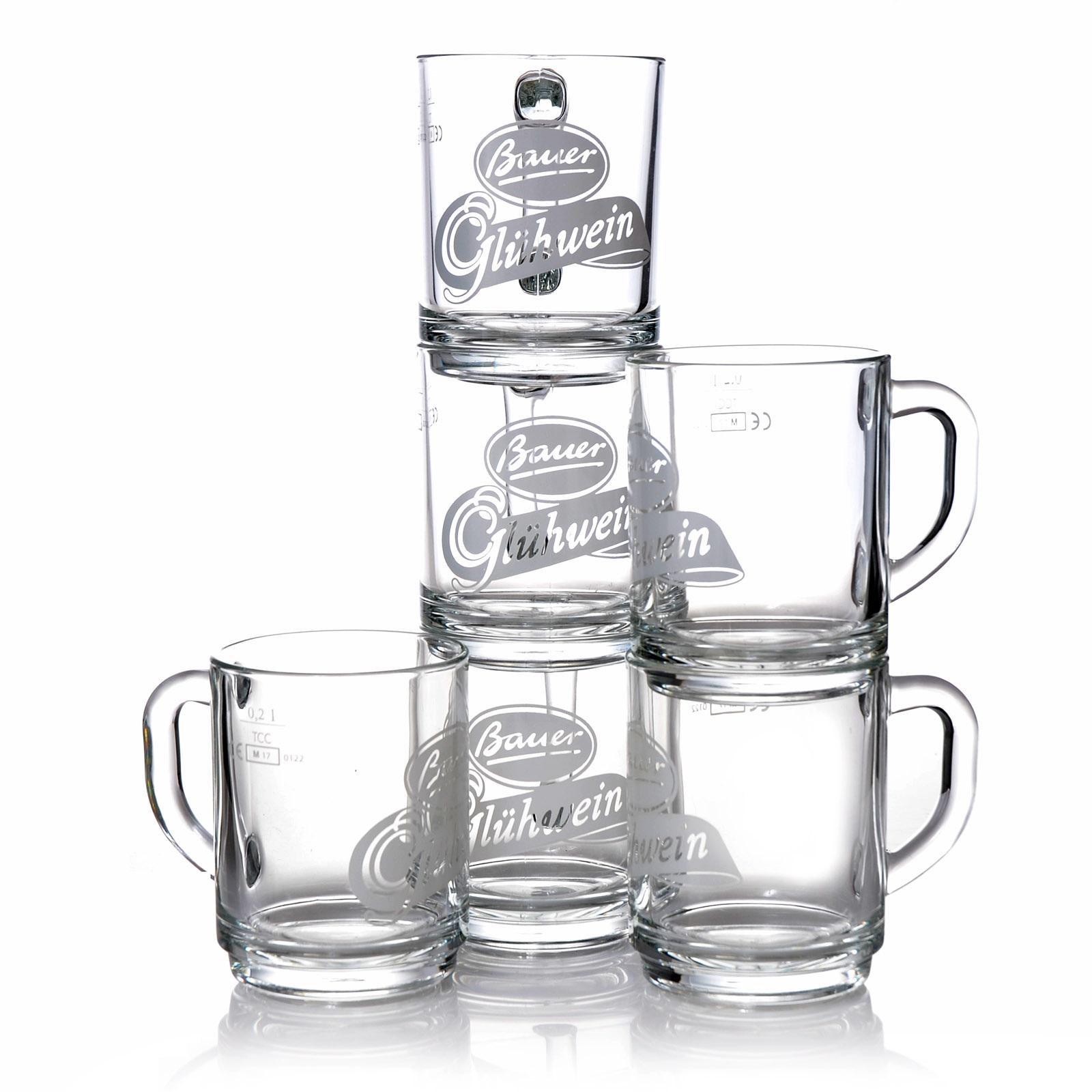 Glühweingläser Bauer 0,2l Tee Glas 12 Punsch Gläser m. Henkel Glühweinbecher