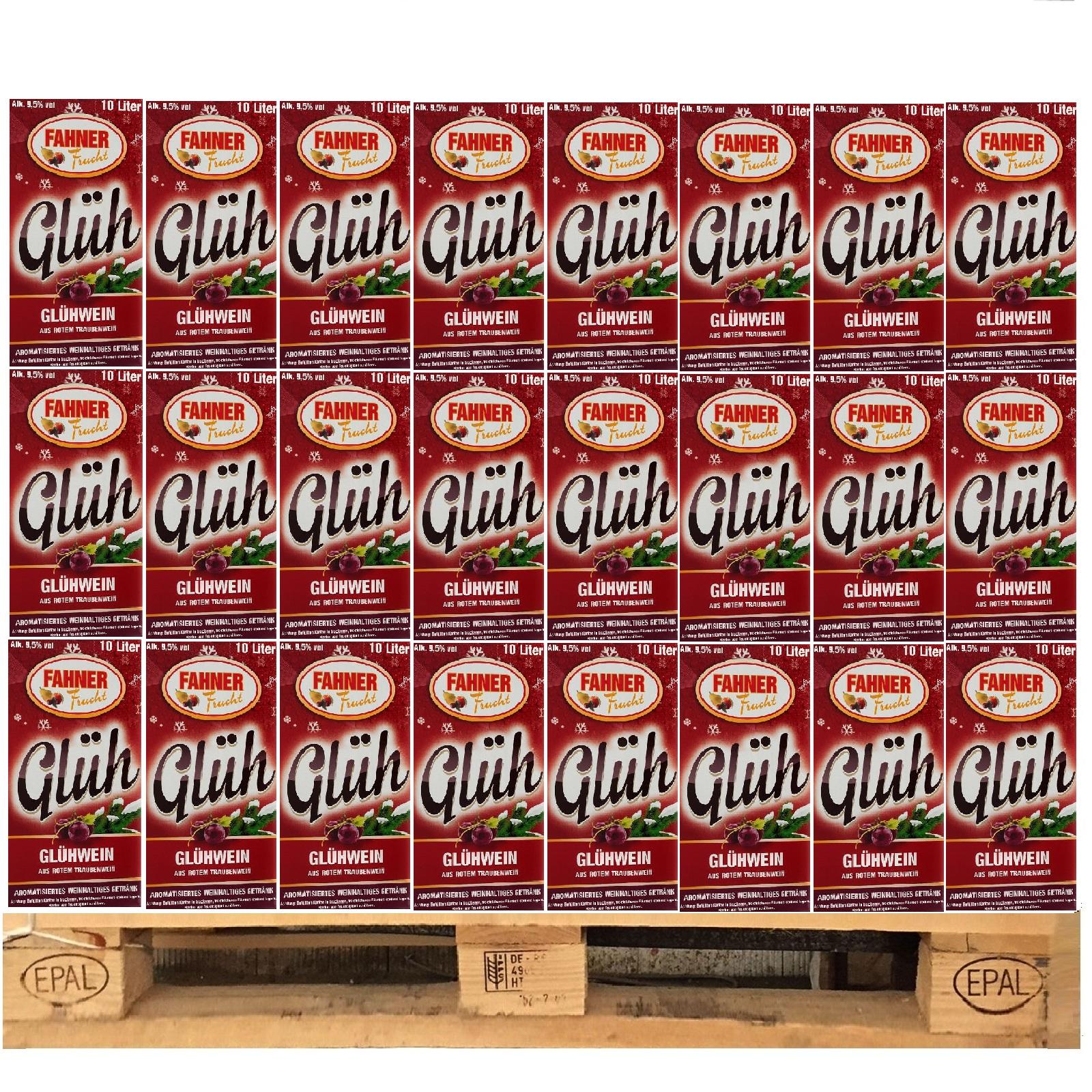 Fahner Glühwein aus Roten Traubenwein 1 Palette 48 Bag-In-Box x 10 Liter