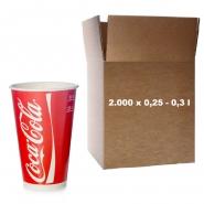 Coca Cola Becher Pappbecher 0,3l - 300ml Kaltgetränke 2.000 Stk