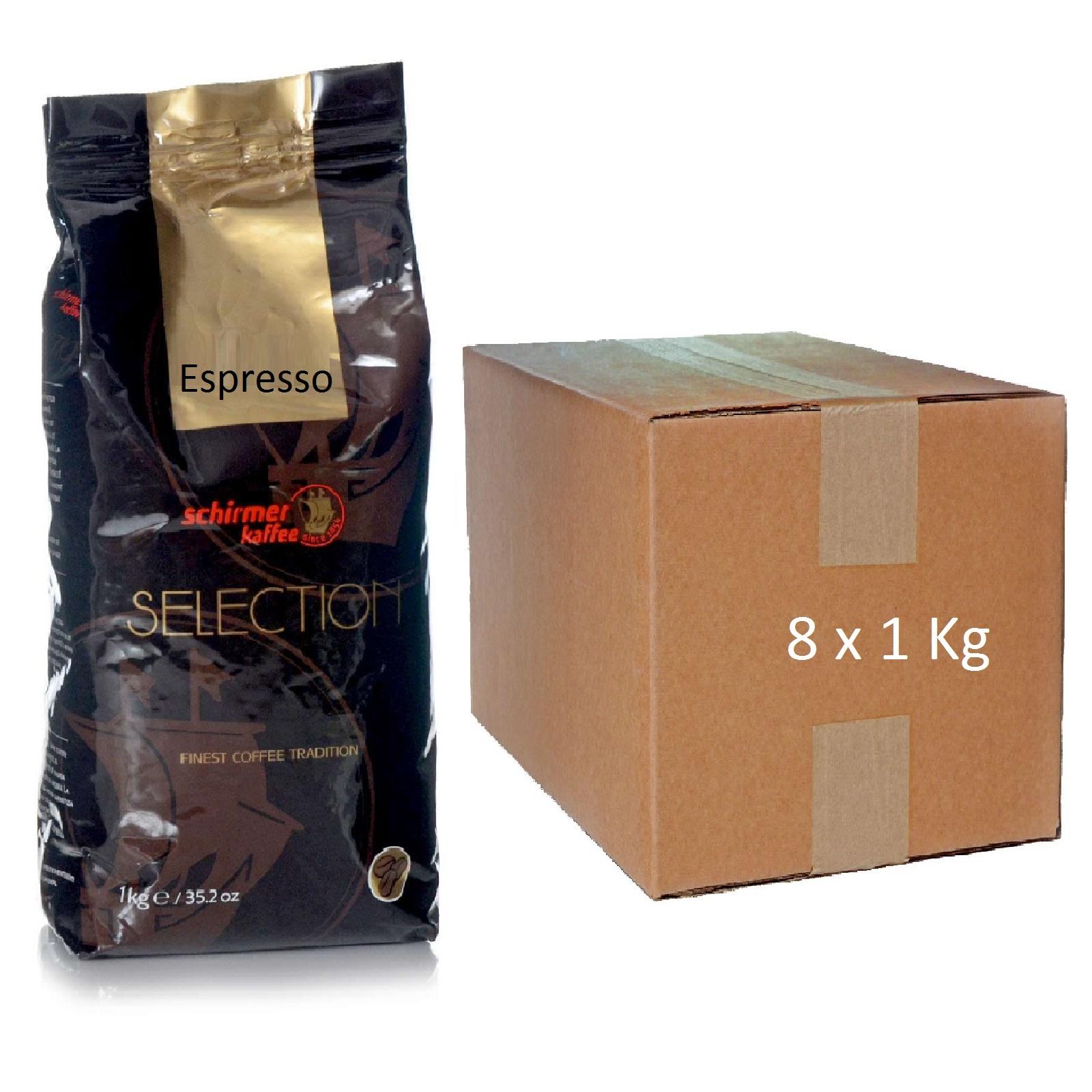 Schirmer Selection Espresso 8 x 1Kg ganze bohnen