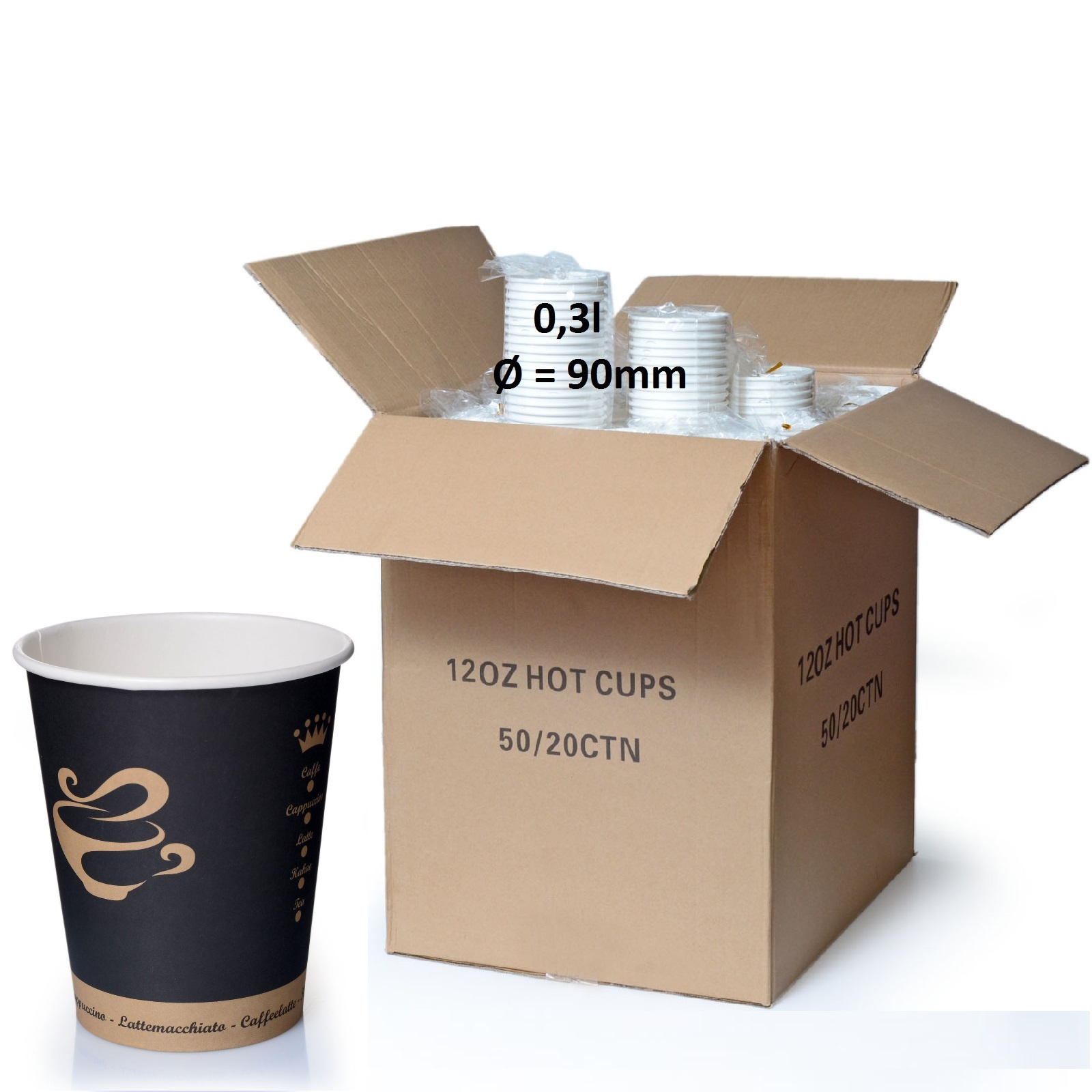 Coffee to go Becher 0,3l Pappbecher Golden Cup 1000 Stk.