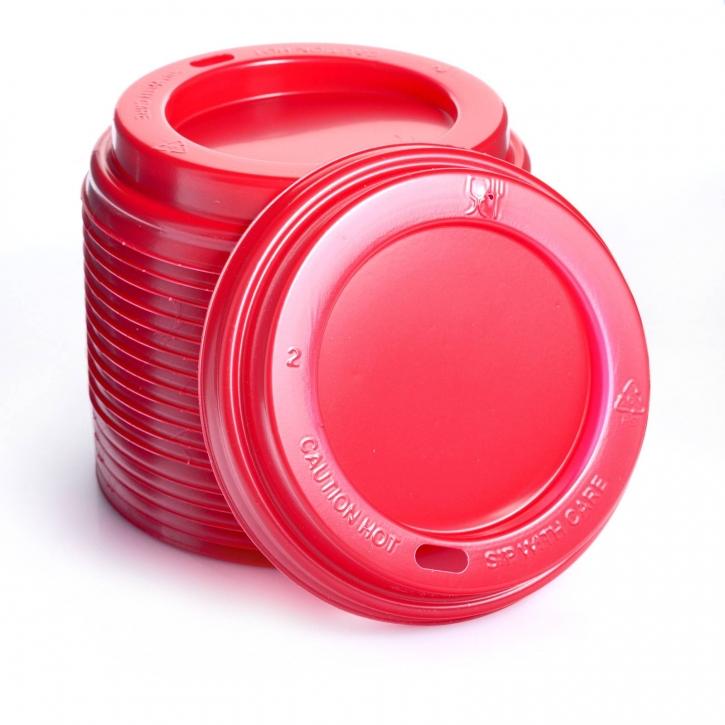 Deckel für Hartpapierbecher Ø90 mm, 100 rot 0,3l/0,4l