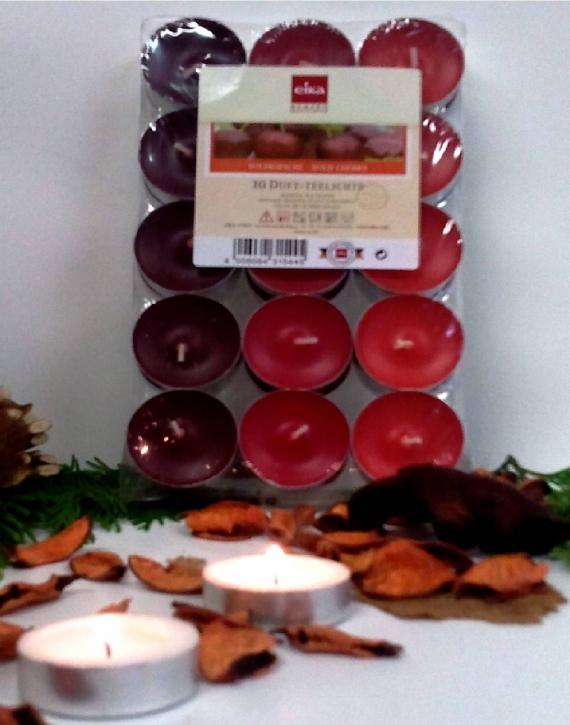 30 Eika Duft-Teelichter Wildkirsche H16 x Ø 38 mm