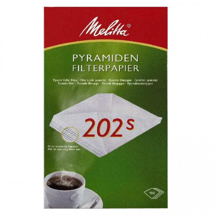 Melitta Pyramiden Filterpapier Filtertüten 202 S, 100 Kaffeefilter M 170 MT