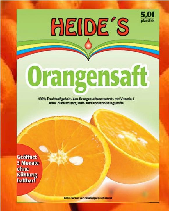 Orangensaft Heide Saft-Box 5 Liter Bag-in-Box mit Zapfhan