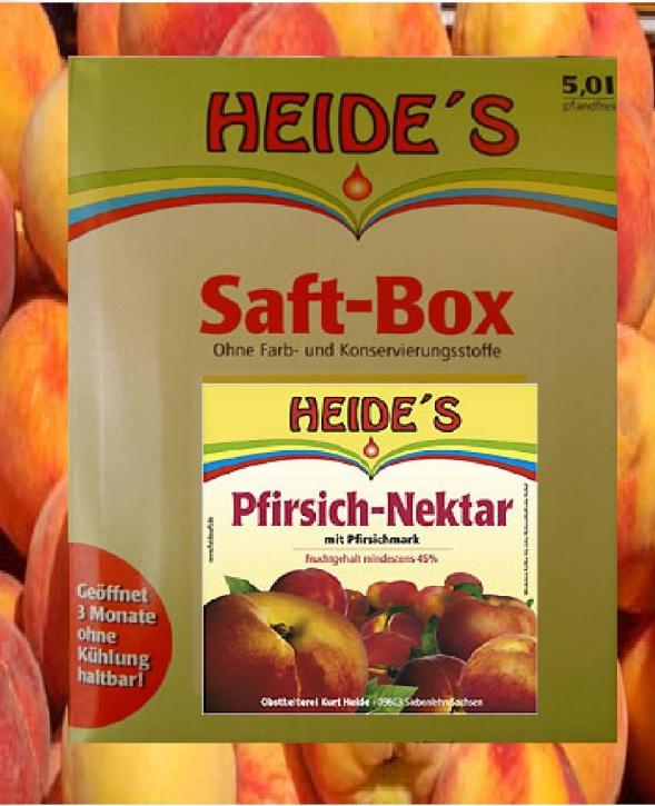 Pfirsich-Nektar Pfirsich-Saft Heide Saft-Box, Bag-in-Box 5 Liter