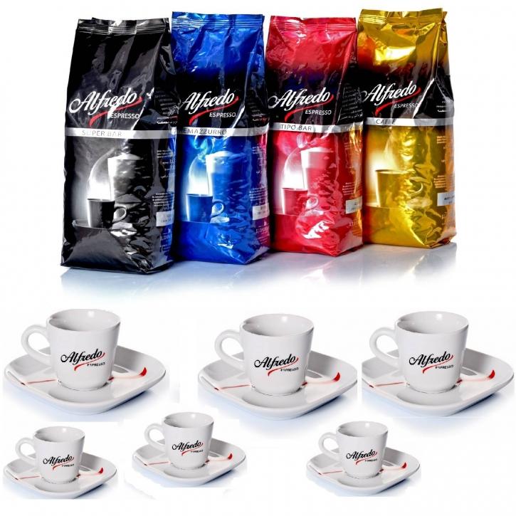 Alfredo Espresso Kaffeetest mit 6 Ober- und Untertassen
