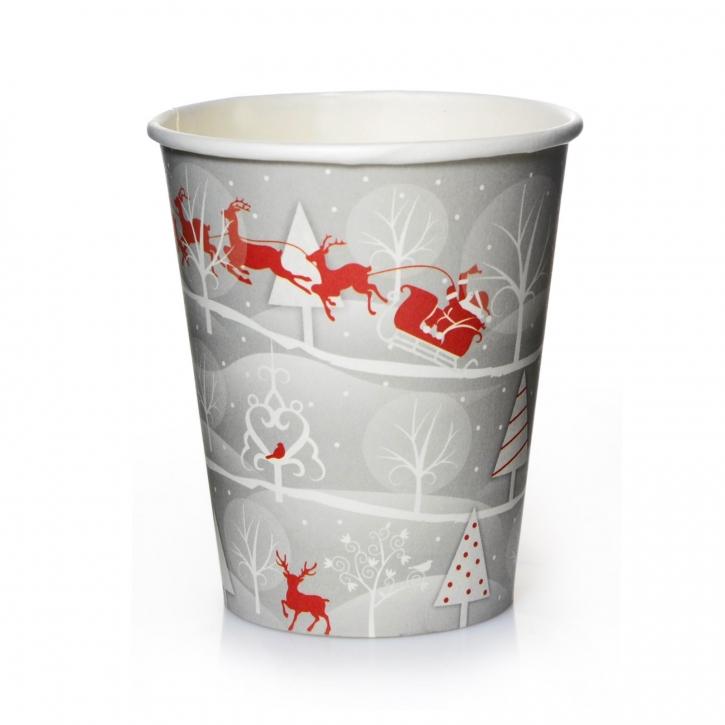 Coffee to go Becher 24cl Pappbecher Rentier sibergrau 50 Stk