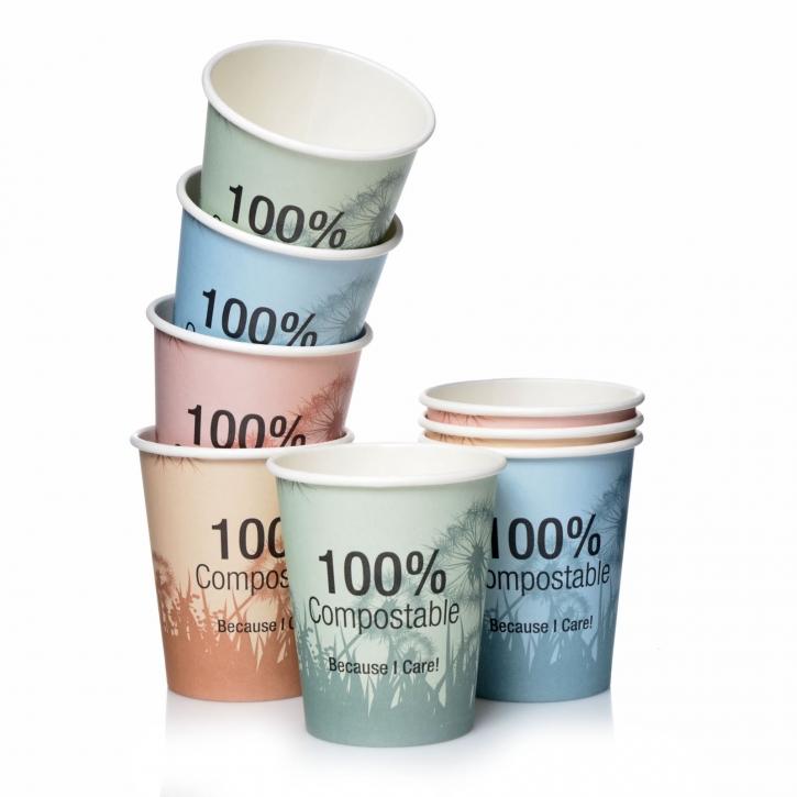 PLA Kaffee Becher 24cl BIO Pappbecher Sleeve gemischt 50 Stk.