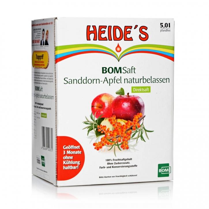 Heide´s Sanddorn-Apfel naturbelassen Direktsaft Bag-in-Box 5 Ltr