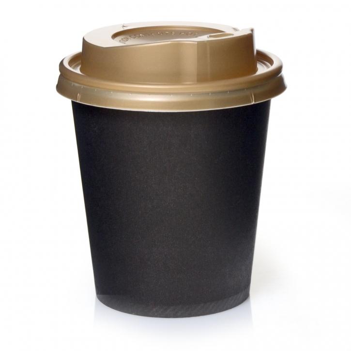 Coffee to go Becher Schwarz 0,2l Pappbecher 200 Stk mit Deckel Gold