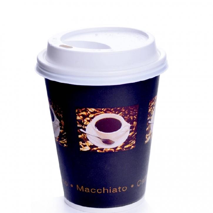 Coffee to go Becher 24cl Bean 0,2l mit Deckel weiß 200 Stk.