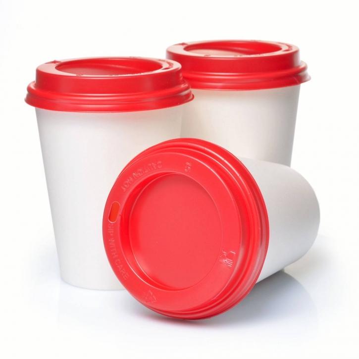 Coffee to go Pappbecher 0,3l weiss mit Deckel rot 200 St.