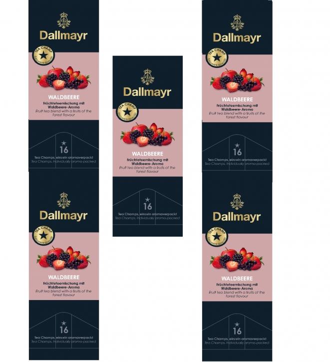 Dallmayr Tee Champs Früchtetee Waldbeere 5er Pack 16 x 4,5g