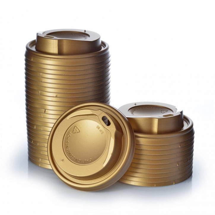 1000 Deckel Coffee to go 0,2 l gold f. Kaffeebecher Ø80mm