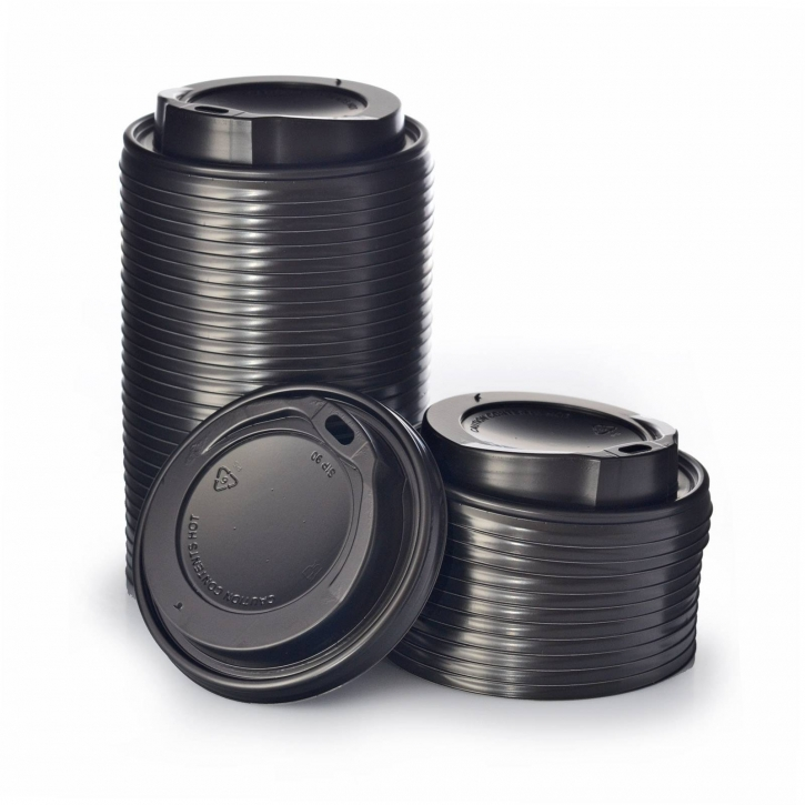100 Deckel für Pappbecher Ø90 mm, 0,3 / 0,4 l Schwarz