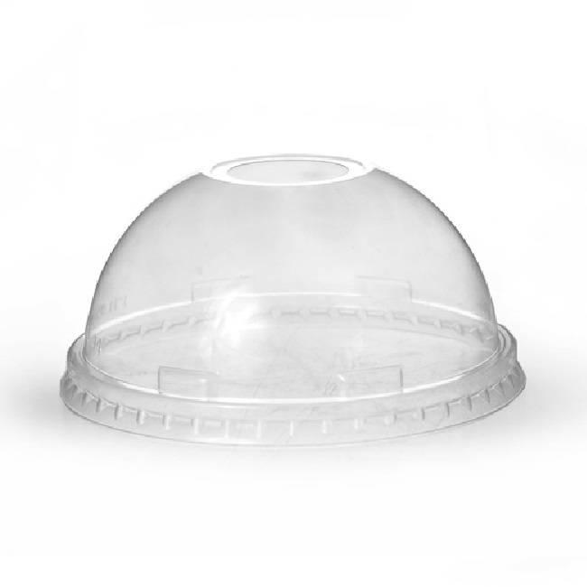 Domdeckel mit Loch glasklar für Trinkbecher PET Ø 95mm, 50 Stk