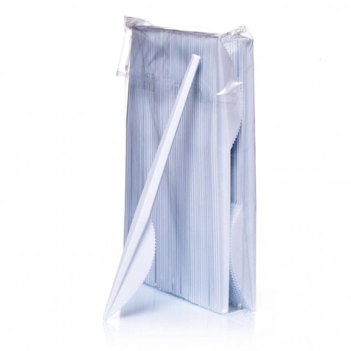 Plastikmesser 16,5 cm Einwegbesteck weiß 100 Plastik-Messer
