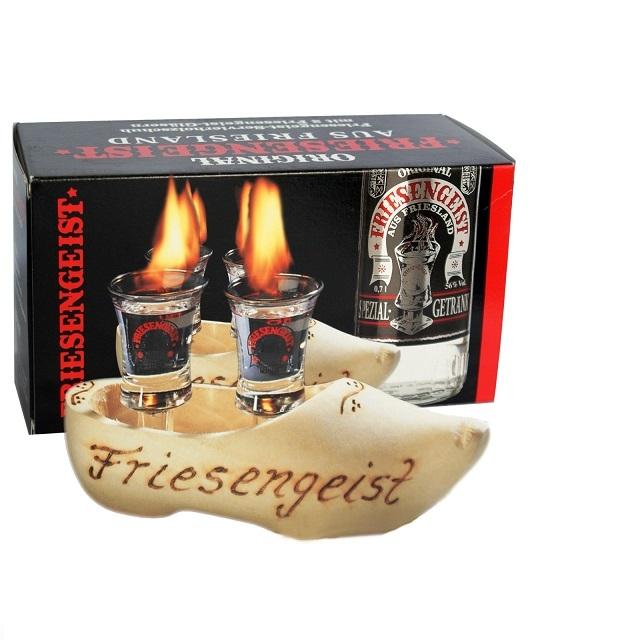 Friesengeist 2er Servierholzschuh inklusive 2 Gläser geeicht 2cl GP
