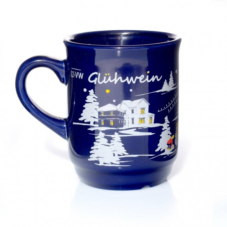 Glühweintassen blau Glühwein-Keramikbecher geeicht 0,2l