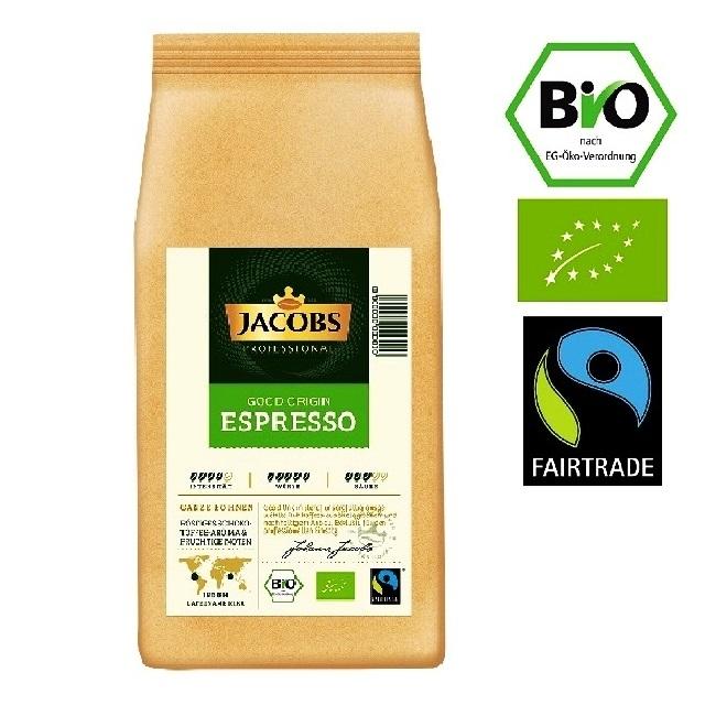 Jacobs Good Origin Espresso Bio (NO-ÖKO-01) Fairtrade 6 x 1Kg ganze Bohne