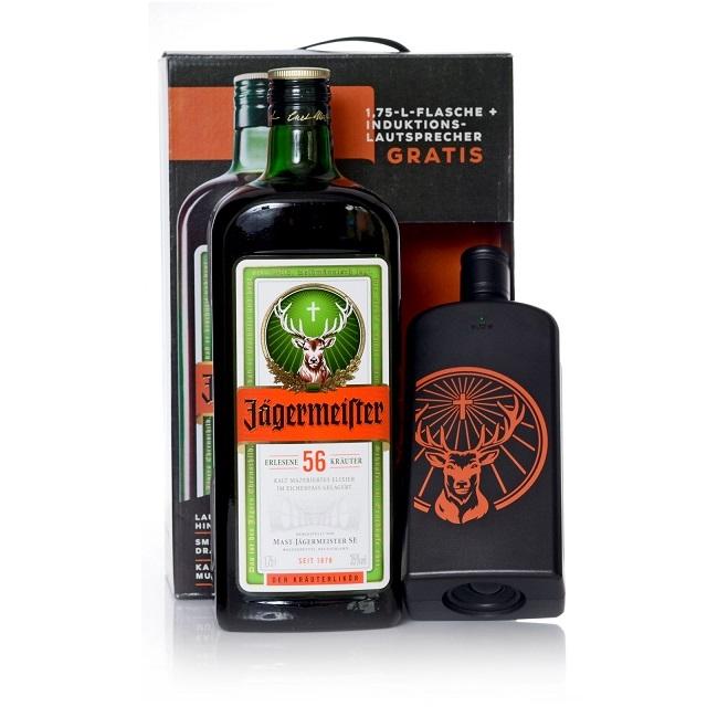Jägermeister Kräuterlikör 1,75l Flasche GP mit Induktionslautsprecher