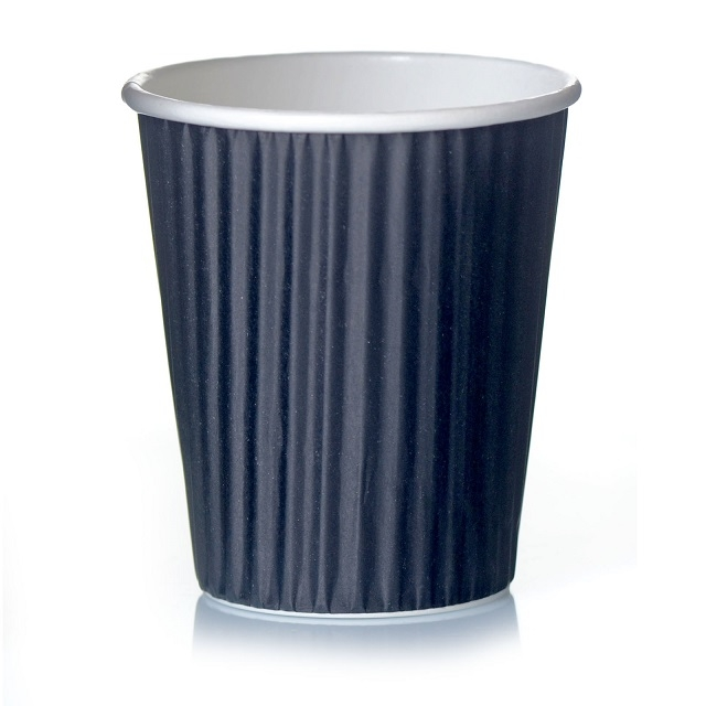 Coffee to go Kaffee-Becher Ripple-Wrap 48cl Pappbecher 0,4l schwarz 20 Stk.