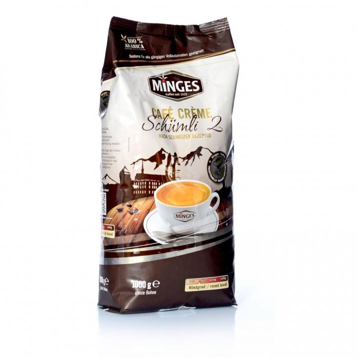 Minges Schümli 2 Creme Arabica Kaffee ganze Bohnen 8 x 1 kg