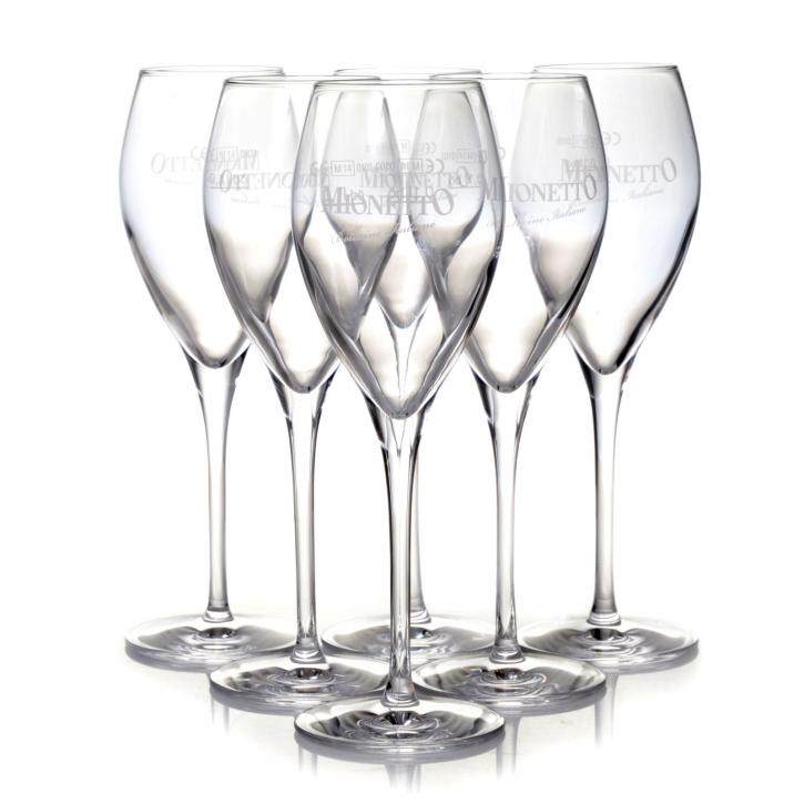 Mionetto Gläser 6 Schaumweinkelche 0,1 l Prosecco, Sekt Glas