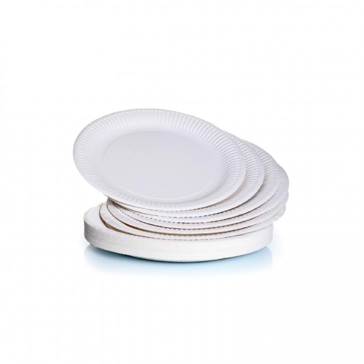 Pappteller rund Ø18 cm, weiß beschichtet 100 Einweg-Teller