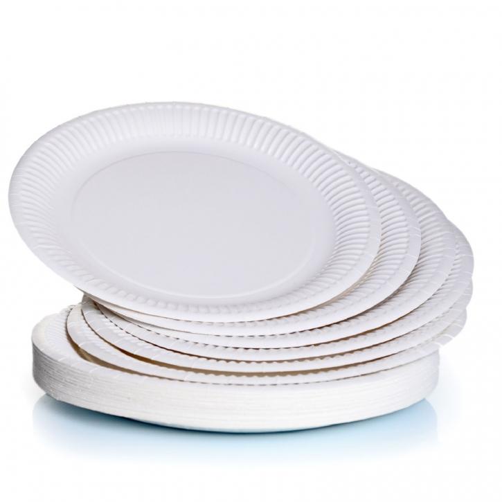 Pappteller rund Ø22 cm, weiß beschichtet 50 Einweg-Teller