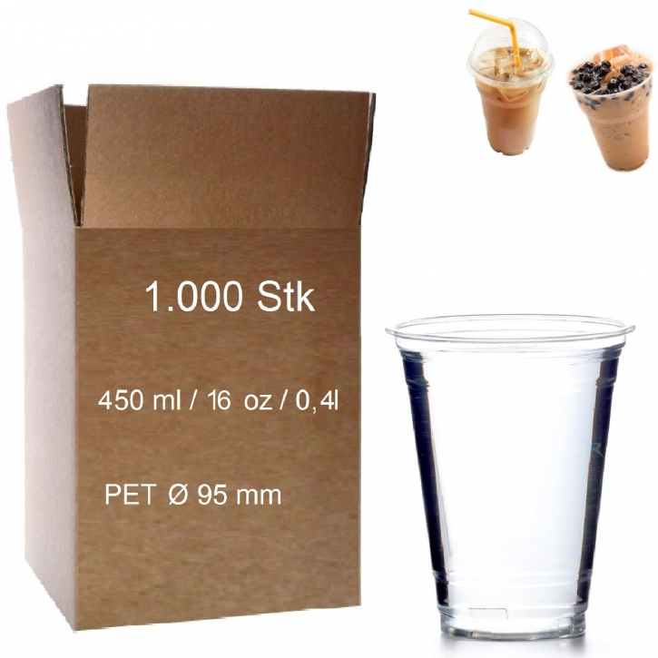 Trinkbecher PET 0,4 l glasklar Plastikbecher 1000 Clear Cups