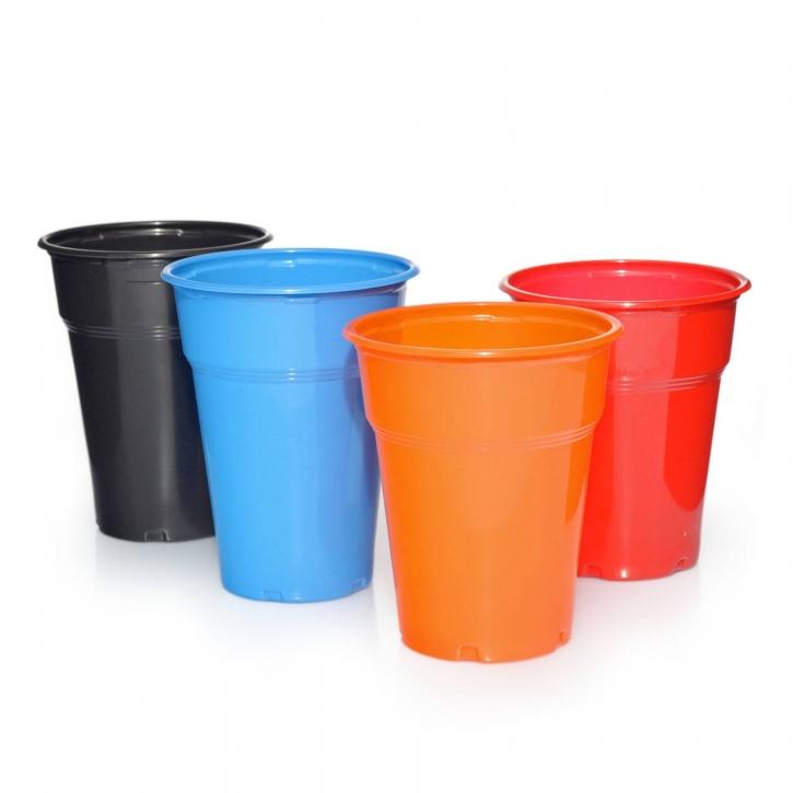 100 Plastik-Trinkbecher 0,3l - 0,4l in verschiedenen Farben
