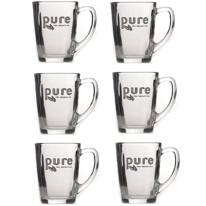 Tchibo Kaffee Online Shop 6 x Teegläser Pure Tea 340ml mit Logo Pure Tea Selection