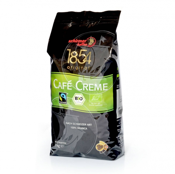 Schirmer Cafe Creme Fairtrade Bio Arabica 1Kg ganze Bohne