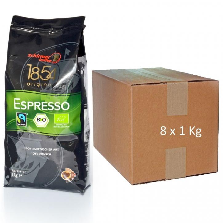 Schirmer Bio Fairtrade Espresso 100% Arabica Cafe 8 x 1kg