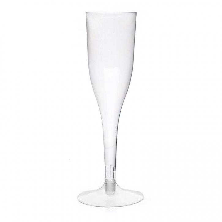Sektgläser Champagner-gläser 0,1 l klar, PS Einweg, 2-teilig mit Fuß 12 Stk,